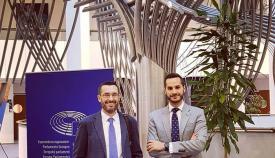 Los representantes linenses, durante el viaje a Bruselas