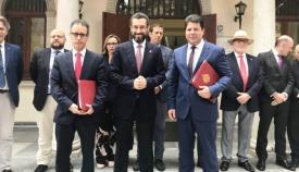 Juan Franco y Fabián Picardo, acompañados por Joseph García