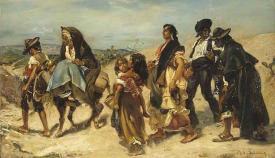 """""""Gitanos y gitanas a la vuelta de una fiesta en Andalucía"""" (1853). Obra de Alfred Dehodencq."""