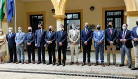 Alcaldes, secretario de estado y otros cargos políticos esta mañana en la sede de la Mancomunidad