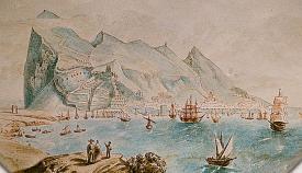 Vista de la bahía desde Puente Mayorga. Acuarela firmada por Boilat en torno a la segunda mitad del siglo XIX. Hemeroteca Histórica Municipal Francisco María Tubino. San Roque