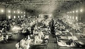 Hospital de campaña para enfermos de gripe en Kansas en 1918. Museo Nacional de Salud y Medicina de Estados Unidos