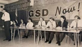 Los dirigentes fundadores del GSD, en una foto de 1989