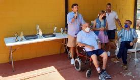 El concejal de Deportes, durante el homenaje.