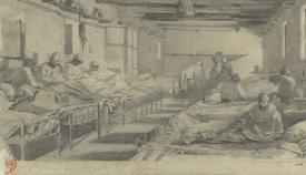 Uno de los dos dibujos realizados por Mariano Fortuny del Hospital de Sangre de San Roque.  (Museo Nacional de Arte de Cataluña)