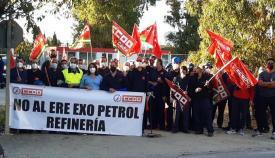 Los trabajadores de Exo Petrol, de huelga. Foto: CCOO