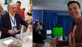 Landauce y Araujo, votando esta mañana en sus respectivos colegios