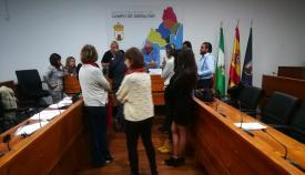 Representantes sindicales durante el proceso electoral en Mancomunidad