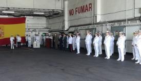 Un momento del acto celebrado hoy a bordo del BAA 'Castilla', en Rota. Foto LR