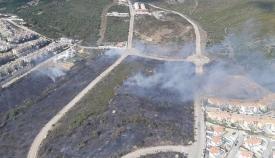 Imagen aérea del incendio de La Línea. Foto: INFOCA