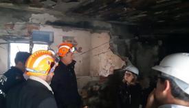 Interior del edificio siniestrado hoy en San Roque
