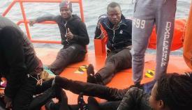 Inmigrantes en el barco