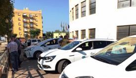Varios taxis de La Línea, en una imagen de archivo. Foto: lalínea.es