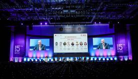 El ministro Isola, durante la presentación que hizo en la Convención Empresarial China. Foto InfoGibraltar