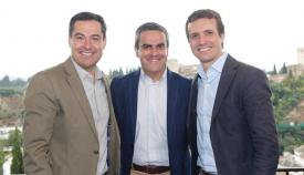 Juanma Moreno, Pepe Ortiz y Pablo Casado