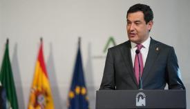 El presidente de la Junta, Juanma Moreno, en una comparecencia anterior