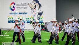 La banda de los Royal Marines en la ceremonia de apertura. Foto DParody/Island GamesXVIII