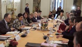 La ministra, esta mañana con dirigentes políticos del Campo de Gibraltar