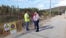 Juan Franco y Raquel Ñeco, esta mañana en la zona afectada