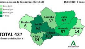 Este es el mapa actual del coronavirus en Andalucía