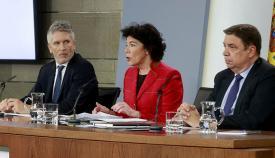 Rueda de prensa del Consejo de Ministros con Marlaska, Celaá y Planas
