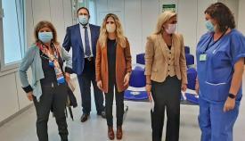 Ana Mestre y otros cargos de la Junta, esta mañana en Algeciras. Foto: Junta