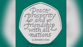 Moneda conmemorativa del Brexit con la fecha del 31 de enero