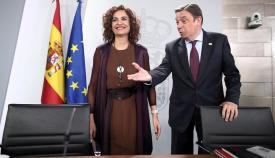 Los ministros María Jesús Montero y Luis Planas, hoy en rueda de prensa