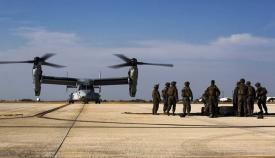 Un 'V-22 Osprey' de los US Marine en la pista de la Base de Morón. Foto US Marine Corps