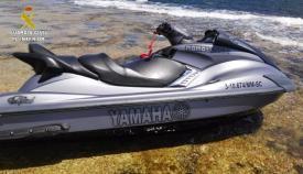 Moto acuática usada para transportar inmigrantes