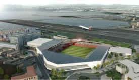 Proyecto del nuevo estadio en Gibraltar, en el emplazamiento del actual