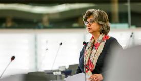 Paloma López (IU), en el Parlamento Europeo