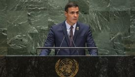 Pedro Sánchez, durante su discurso en la Asamblea General de la ONU
