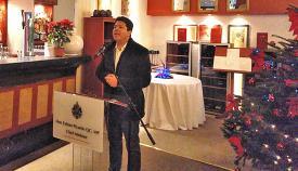 Fabian Picardo durante su intervención anoche ante la prensa de la comarca y Gibraltar. Foto NG