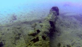 Pieza arqueológica de una batería, localizada en el fondo de la Bahía