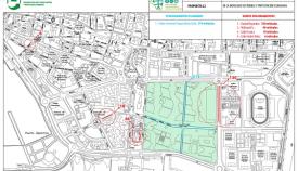 Plano de la zona de aparcamientos del Parque y sus alrededores. Foto: NG