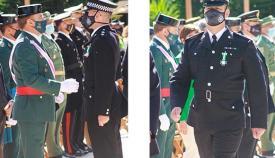 Los dos agentes condecorados, durante el acto en Tarifa ayer domingo. Fotos RGP