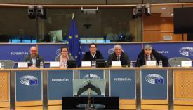 Los miembros de la plataforma, en Bruselas