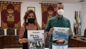 Los concejales Mercedes Atanet y Mario Fernández, esta mañana. Foto: lalínea.es