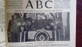 Primera plana del diario ABC informando de un acto en el consulado franquista en Gibraltar. Hemeroteca Histórica Francisco María Tubino