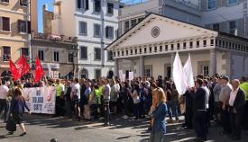 Reciente protesta de los trabajadores del MoD en Gibraltar