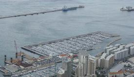 Vista aérea del puerto de Gibraltar.