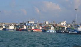 Imagen de varias embarcaciones en el Puerto Pesquero de la Atunara