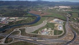 Imagen aérea de la zona logística de El Fresno, que acogerá a dicho recinto fiscal