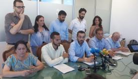 Juan Franco y varios de sus concejales, en la rueda de prensa de este jueves