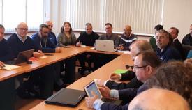 Reunión en la que se acordó la desconvocatoria de la huelga