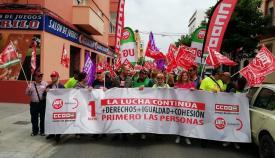 La manifestación ha reunido a 300 personas en La Línea