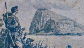 Estampa antigua de soldado español frente a Gibraltar