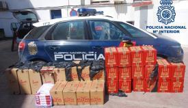 El cargamento de tabaco intervenido ya en dependencias policiales