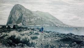 Término de San Roque frente a Gibraltar. Grabado del siglo XIX